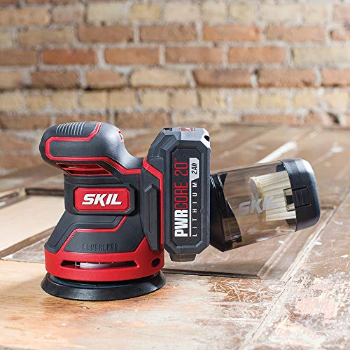 SKIL PWRCore 20 Brushless 20V 5-Inch Random Orbital Sander, Includes 2.0Ah Lithium Battery and PWRJump Charger - SR660302
