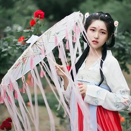 TSP Borlas chinas paraguas cinta seda paraguas Hanfu Cos paraguas Prop Shoot traje antiguo paraguas cosplay princesa sombrilla (color: blanco rosa)