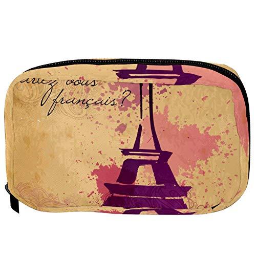 TIZORAX Cosmetic Bags Ink Splash Eiffel Tower Handy Toiletry Travel Bag Oragniser Makeup Pouch for Women Girls