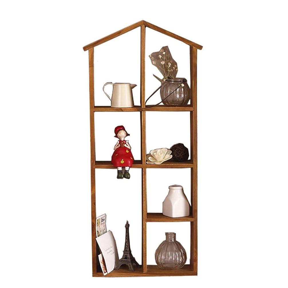 普通にキノコテナント壁掛けシェルフ 7グリッドウォールラックの食料品の壁掛けキッチン棚バスルーム化粧品収納ラック30.5 * 8.5 * 67.5CM (色 : 木の色)
