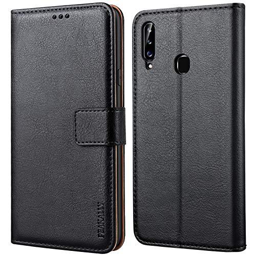 Peakally Handyhülle für Samsung Galaxy A20s Hülle, Premium Leder Flip Hülle Tasche Schutzhülle Brieftasche Klapphülle [Kartenfächer] [Standfunktion] [Magnet] für Samsung Galaxy A20s-Schwarz