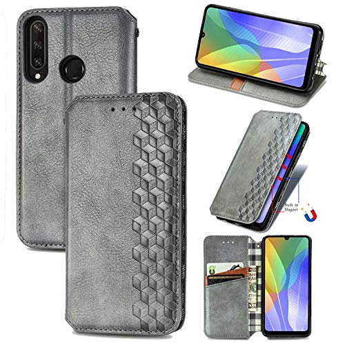 Miagon Samsung Galaxy A11 Mode Hülle,Retro PU Leder Flip Brieftasche Abdeckung Magnetverschluss Folio Ständer Kartensteckplätze Handyhülle,Grau