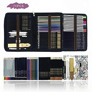 Bosquejo Lápices de Dibujo del Artístico Profesional,Set de Lápices de Colores–Juego de 70 lápices metálicos,acuarela…