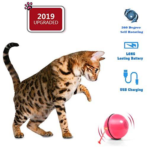 HOPLUS Katzenspielzeug Elektrisch Katzenball USB-Aufladung mit LED Licht interaktives Intelligenzspielzeug Roller Ball für Katzen, Rosa