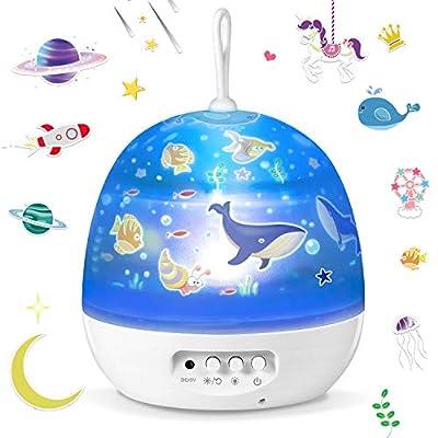 Lámpara Proyector?Iluminación Romántica con Rotación 360 Grados de Estrellas y Cosmos?Lámpara Infantil con Control de Temporizador, USB & Pilas y 8 Modos para Niños, Novia, Cumpleaños y Fiesta
