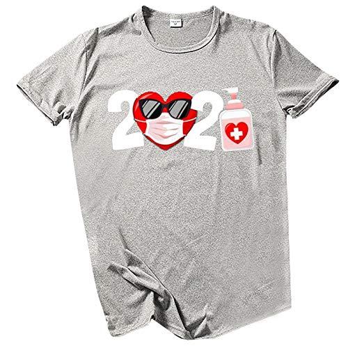 YANFANG Camisa de Manga Corta para Mujer con Cuello Redondo y Estampado de San Valentín a la Moda Blusas MGray