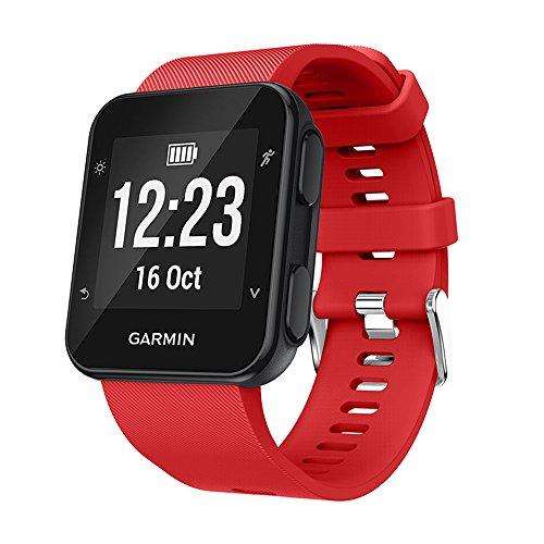 KOMI Correa de reloj compatible con Garmin Forerunner 35/30 Smart Watch, correa de repuesto de silicona, color Rojo