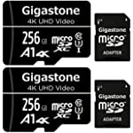 Gigastone 256GB 2-Pack Micro SD Card, 4K UHD Video, Surveillance Security Cam Action Camera Drone Professional, 100MB/s Micro SDXC UHS-I A1 Class 10