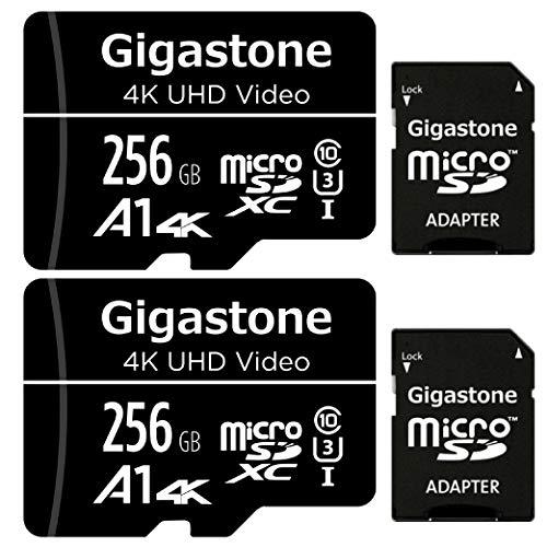 Gigastone Tarjeta de Memoria Micro SDXC de 16GB con Adaptador SD, (Classe 10, U1,C10). Velocidad de Lectura/Escritura hasta 90/20 MB/s.Compatible con Mòbil, cámara de Coche etc. (256GB Black- 2 Pack)