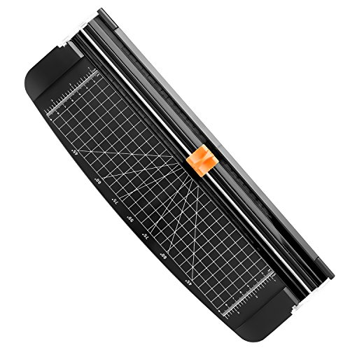 Firbon A4 Paper Cutter Portable Guillotine Paper Trimmer Scrapbooking Tool with Automatic Security Safeguard for Craft Paper, Coupon, Label and Cardstock (Black)