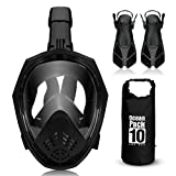 ACALI Faltbare Tauchmaske Vollgesichtsmaske Schnorcheln Maske Set + Tauchflossen und 10L PVC...