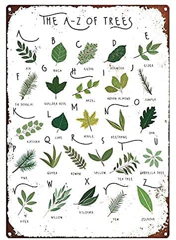 A-Z of Trees, Alphabet Print, Tree Identification Tin Sign Metal Poster Signs for Man Cave Bar Kitchen Coffee Wall Decor Plaque 8x12 Inch