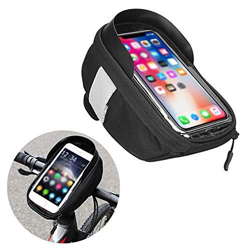 Bolsa para Cuadro de Bicicleta con Pantalla Táctil de TPU Bolsa Bicicleta Manillar para Ciclista Ciclismo Bolsa Bici de Montaña con Soporte para Telefono Impermeables para Smartphone Bajo 5.5 Pulgada