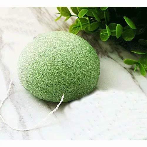 Doyeemei Tissu démaquillant naturel doux pour la peau sensible à grasse éponges au charbon de bambou nettoyantes pour le visage Nettoyant cosmétique pour le visage éponge Konjac Green