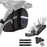Bike Repair Tool Kits, Bike Saddle Bag with Repair Set, Bike Bag Under Seat, Bicycle Tool Storage Bag with 16-in-1 Multifunction Tool Kits, Bike Seat Bag, Bicycle Repair Set