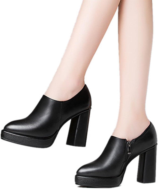 DoraTasia big Size Elegant Pointed Toe Zipper up Block Heel Genuine Leather Black Women Pumps shoes