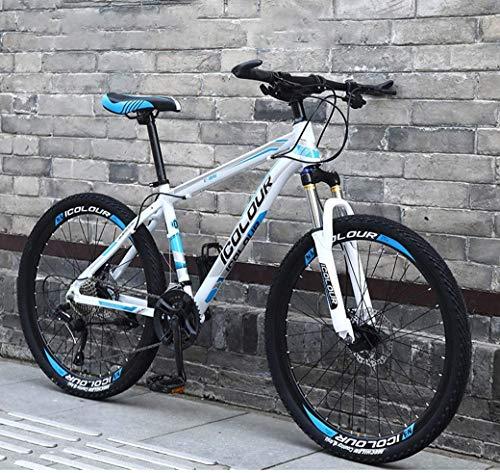 Bicicleta de Montaña de 26'24 velocidades para Adultos, Marco de suspensión Completa de Aluminio Ligero, Horquilla de suspensión, Freno de Disco
