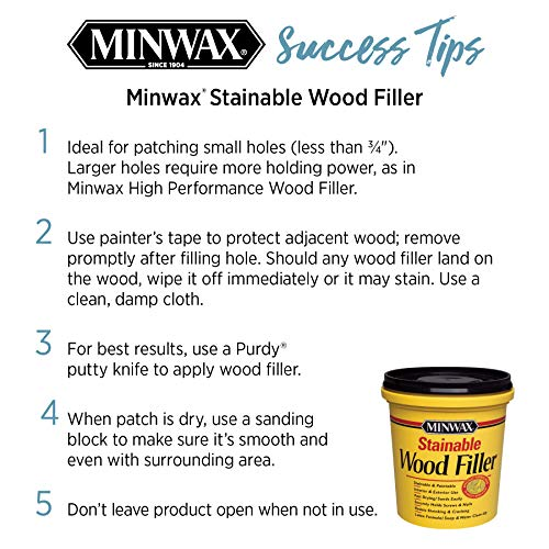 Minwax 42853000 Stainable Wood Filler, 16-Ounce