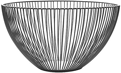 MGE Cesta de almacenamiento de frutas negra para sala de estar, plato de fruta, cesta de drenaje de hierro forjado (25 x 14 cm)