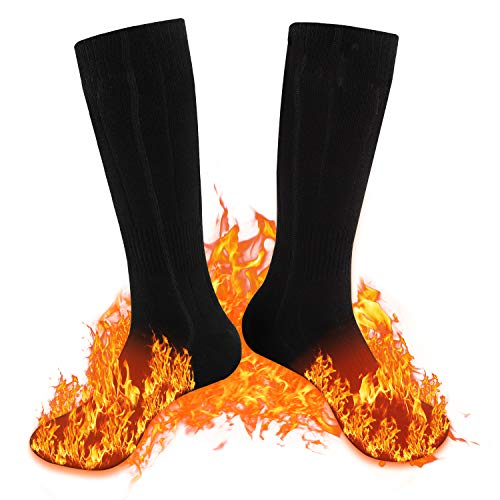 ADIMA Heated Socks, 4000mAh Rechargeable Battery 3 Heating Settings Thermal Socks Winter Warm Socks for Men and Women Camping Fishing Cycling Motorcycling Skiing (Black)