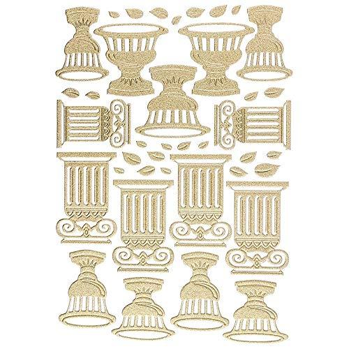 Ideen mit Herz 3-D Sticker Deluxe   Ostern & Frühjahr   Erhabene Aufkleber   ideal für Oster-Deko & Osterkarten basteln   Bogengröße: 21 x 30 cm (Amphoren & Säulen   Gold)