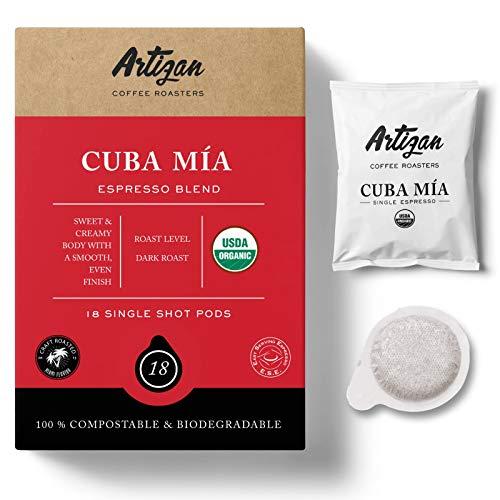 Organic Authentic Cuban Espresso Cafecito | Cuba Mia Single Espresso ESE Coffee Pods | 45mm | High Intensity | Low Acidity | Dark Roast | 7g | Freshly Roasted in Miami, FL | 18 Pod x 2 Pack…