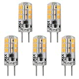 GY6.35 G6.35 Bi-pin Base LED Bulb 4Watt AC DC 12V Silica Gel Crystal Daylight White 6000k Landscape Lighting,JC Type, Equivalent 25W- 30W Q35/CL/T4 Halogen Bulbs (5-Pack)