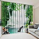 Cortinas Blackout Ventanas Opacas Termicas Aislantes para salón, Cocina habitación y Dormitorio,Cascada Bosque de bambú,183x214 cm (Ancho x Alto)