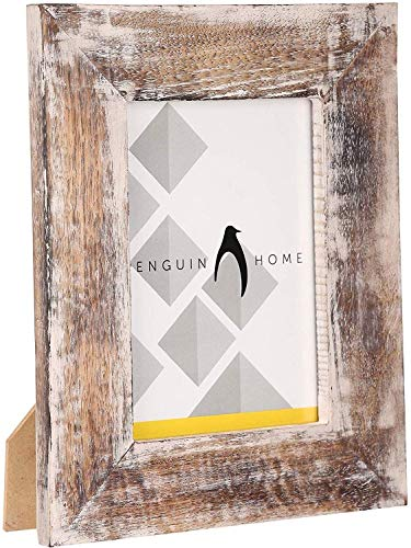Penguin Home Marco de fotos de madera, blanco lavado, 15 x 10 cm