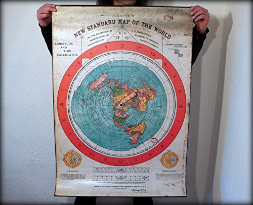 Flache Erde Karte: 40x28 Zoll - Gleasons New Standard Map of World - PVC Wetterfeste Poster Print