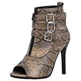 Ducarulan Mujer Verano Botines Peep Toe Stiletto Tacon Alto Moda High Top Sandalias Lace up Evening Heels Animal Print Snake SeWenZon Mini Size 35