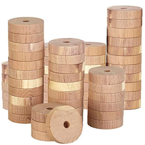 infactory Gutriechendes Zedernholz: Mottenringe aus Zedernholz im 60er-Set, passend für alle Kleiderbügel (Zedernholz-Mottenschutz-Set)