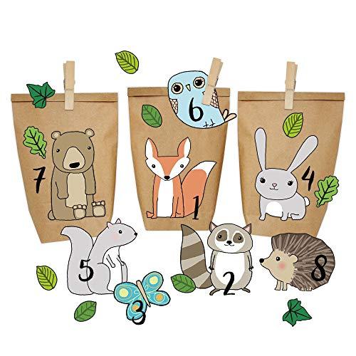 Papierdrachen Calendario dell'Avvento Fai-da-Te - Animali della Foresta da incollare - con 24 Sacchetti di Carta da riempire - Natale 2018