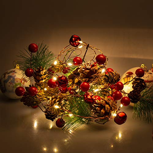 Ncknciz Pine Garlands Battery Operated Garland Lights 6.5FT 20LEDs Christmas Garland with Lights Red Berry and Pine Cone Xmas Tree Garland Indoor Decoration Warm Lights for Holiday Party Home Decor