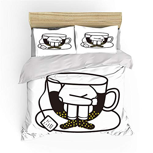 BSZHCT Duvet Cover Set Double bed Size Coffee mugs stick figure Printed Bedding Set 100% Hypoallergenic Microfiber Quilt Cover and 2 Pillowcases Duvet Set Gift for Teens Girls boy adult