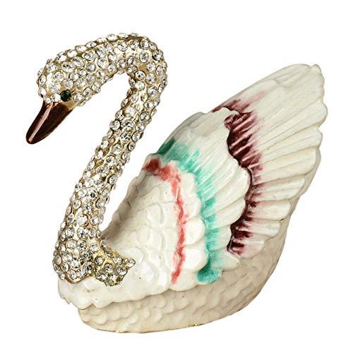 WOREX Estatuas de decoración decoración de cisne cristal Bejeweled baratija caja decorativa estatuas de pájaro cisne decoración casera anillo caja regalos boda favores