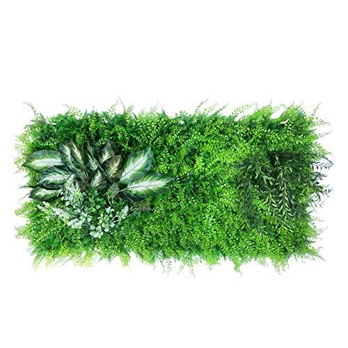 urbanjungle Pflanzenwand (Aussehen und Maße individ. anpassbar) : 0,5m² Matte mit künstlichen Pflanzen – Vertikaler Garten als Wandbegrünung, Sichtschutz am Zaun oder Balkon, Pflanzenbild (C)