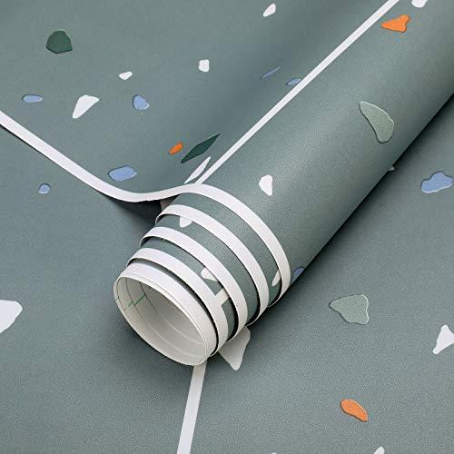 Bodenbelag selbstklebend PVC Belag Folie 60x500cm Vinyl Bodenschutz Klebefolie ca.3㎡/Rolle Matt Flisenaufkleber Folie Stärke 0,35mm (Fliese-Grau)
