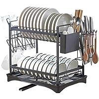 xiapia scolapiatti da appoggio per lavello cucina 2 livelli sgocciolatoio per scolapiatti porta piatti pensile 46 * 39.6 * 30cm organizzatore cucina con portabicchieri