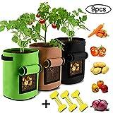 INTVN 3 Bolsa para Cultivo de Patatas, Sacos para Plantas, Etiqueta de la Planta,7 Gallon Juego de Bolsas de Cultivo para Plantar con Ventana para Cultivar hortalizas (Verde+Marrón+Negro)