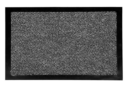 Carpido Fußmatte 60x80 cm für den Innenbereich - Türvorleger schnelltrocknend - Rutschfester Sauberlauf anthrazit - Schlichter Fußabstreifer