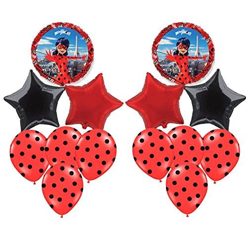 Pack 14 Globos Ladybug Especial para Fiestas DE CUMPLEAÑOS. Ideales para SU INFLADO con Helio
