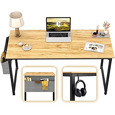 """CubiCubi Computer Desk 47"""" Study Writing Table for Home Office, Modern Simple Style PC Desk, Black Metal Frame, Walnut"""