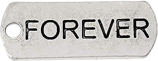 PEPPERLONELY 30 قطعة العتيقة سبائك الفضة رسالة منقوشة إلى الأبد سحر المعلقات 21 × 8 مم (7/8 بوصة × 3/8 بوصة)
