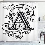 ABAKUHAUS Buchstabe a Duschvorhang, Abstrakter erster Buchstabe, mit 12 Ringe Set Wasserdicht Stielvoll Modern Farbfest & Schimmel Resistent, 175x200 cm, Weiß Schwarz Grau