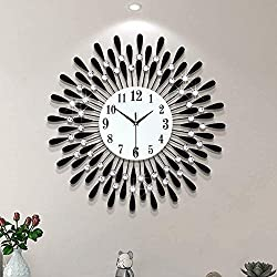 Lansel Metal Black Drop Wall Clock Watch, 3D Non-Ticking Silent Quartz Clocks, Battery Powered Clock with Arabic Numerals, Diamond Round Home Decoration Wall Clocks (Size : M)