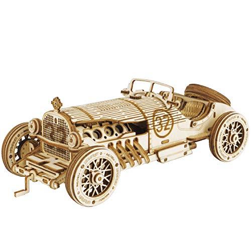 Robotime Grand Prix Auto 3D Puzzle Modellbausätze Selbstmontage Mechanische Konstruktion Handwerk für Kinder, Jugendliche und Erwachsene