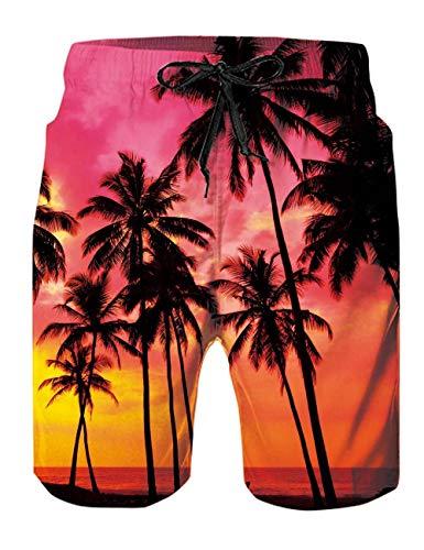Rave on Friday Herren Badehose Sommer Badeshorts 3D Druck Schnell Trocknend Hawaii Surf Schwimmhose Sporthose Coconut Tree M