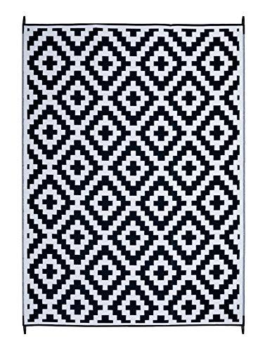 FH Home - Alfombra de Suelo de plástico Reciclado para Interiores y Exteriores, Ideal para la Playa, Camping, Viajes de Camping, picnics - Ligera - Plegable - Aztec - Black & White (270 cm x 360 cm)