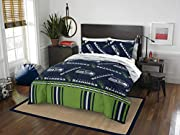 "Features a repeating print of team name and logos on the comforter and pillowcase, on a team-colored background Set comes with 1 comforter, 1 flat sheet, 1 fitted sheet and 2 pillowcases Comforter measures 86""W x 86""L; Flat Sheet measures 90""W x 102""..."